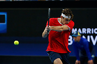 7th January 2020; RAC Arena, Perth, Western Australia; ATP Cup Australia, Perth, Day 5; USA versus Italy; Taylor Fritz of the USA plays a backhand shot against Stefano Travaglia of Italy - Editorial Use