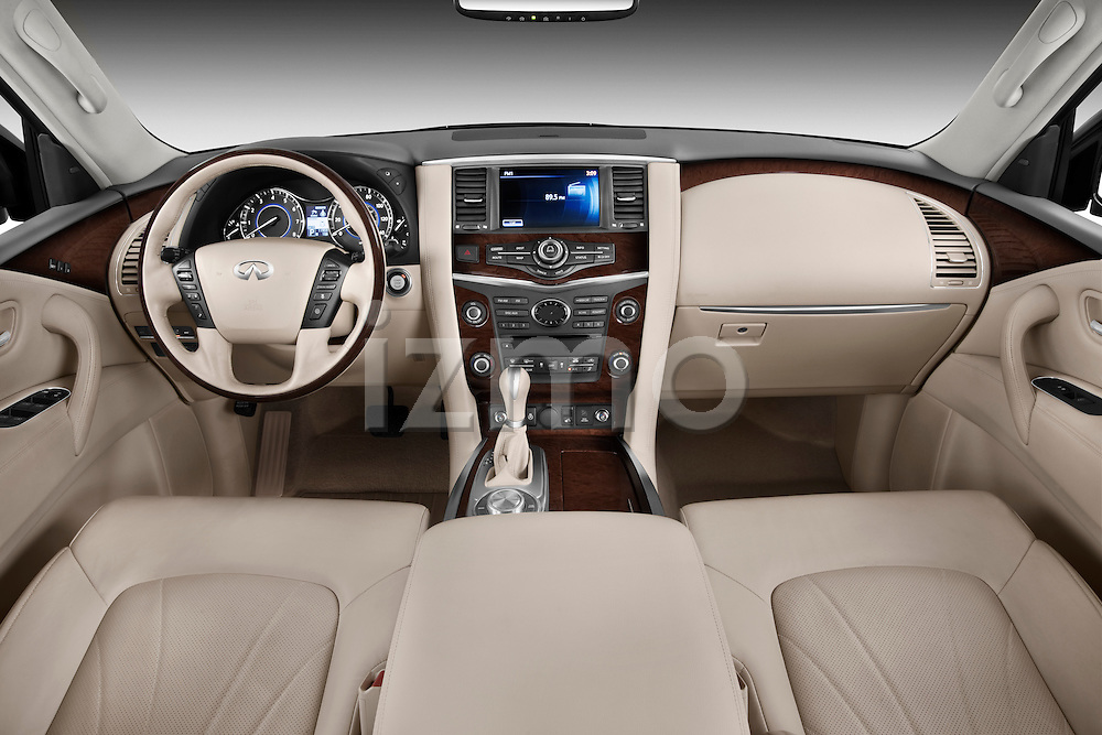 Straight dashboard view of a 2011 Infiniti QX56