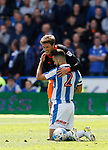 Adam Reach of Sheffield Wednesday and Tommy Smith of Huddersfield Town during the English Championship play-off 1st leg match at the John Smiths Stadium, Huddersfield. Picture date: May 13th 2017. Pic credit should read: Simon Bellis/Sportimage
