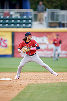 New Hampshire Fisher Cats shortstop Bo Bichette (5) throws to first base during the first game of a doubleheader against the Harrisburg Senators on May 13, 2018 at FNB Field in Harrisburg, Pennsylvania.  New Hampshire defeated Harrisburg 6-1.  (Mike Janes/Four Seam Images)