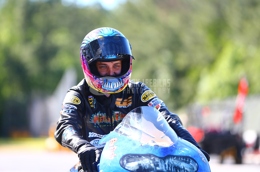 May 7, 2017; Commerce, GA, USA; NHRA pro stock motorcycle rider L.E. Tonglet during the Southern Nationals at Atlanta Dragway. Mandatory Credit: Mark J. Rebilas-USA TODAY Sports