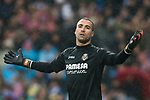 Goalkeeper Sergio Asenjo Andres of Villarreal CF reacts during the La Liga 2017-18 match between Real Madrid and Villarreal CF at Santiago Bernabeu Stadium on January 13 2018 in Madrid, Spain. Photo by Diego Gonzalez / Power Sport Images