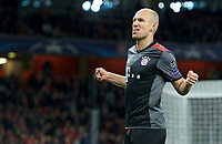Arjen Robben of Bayern Munich celebrates after scoring their 2nd goal to make it 1-2 on the night during the UEFA Champions League round of 16 match between Arsenal and Bayern Munich at the Emirates Stadium, London, England on 7 March 2017. Photo by Alan  Stanford / PRiME Media Images.