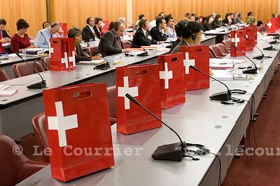Genève, le 01.09.2008.sac avec croix suisse.© Le Courrier / J.-P. Di Silvestro
