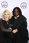 """Joan Rivers (comedian and Another World) passes away at age 81 on August 28, 2014 and in photo poses with Whoopi Goldberg at Mayor Bloomberg and Media & Entertainment Commissioner Katherine Oliver who present the 7th Annual """"Made in NY"""" Awards on June 4, 2012 at Gracie Mansion, New York City, New York. (Photo by Sue Coflin/Max Photos)"""