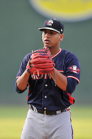 Starting pitcher Ricardo Sanchez (57) of the Rome Braves delivers a pitch in a game against the Greenville Drive on Tuesday, August 30, 2016, at Fluor Field at the West End in Greenville, South Carolina. Greenville won, 7-3. (Tom Priddy/Four Seam Images)