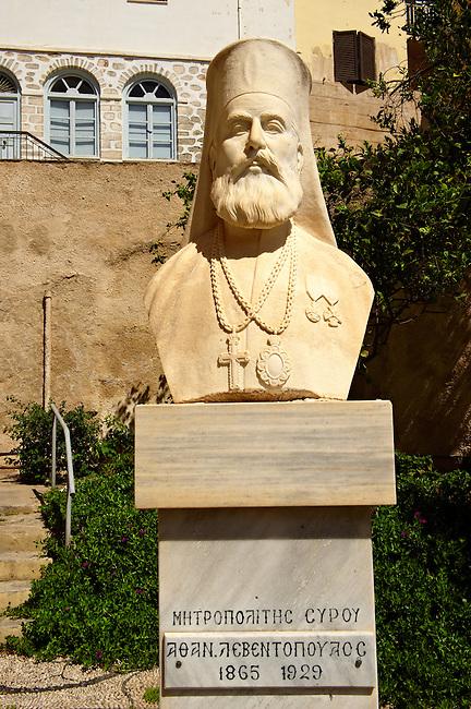 Bust of the Greek Orthodox Metropolitan Patriach of Syros,  Syros Island [ ????? ] , Greek Cyclades Islands