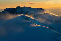 Mt. Humboldt at sunset, with Crestone Needle in back.  Looking west.  Feb 2013.  82597