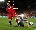 Mohamed Salah of Liverpool tussles with Simon Kjaer of Sevilla during the Champions League Group E match at the Anfield Stadium, Liverpool. Picture date 13th September 2017. Picture credit should read: Simon Bellis/Sportimage