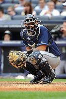 Tampa Bay Rays catcher Jose Lobaton #31 during a game against the New York Yankees at Yankee Stadium on September 21, 2011 in Bronx, NY.  Yankees defeated Rays 4-2.  Tomasso DeRosa/Four Seam Images