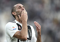 Calcio, Serie A: Juventus - Lazio, Torino, Allianz Stadium, 25 agosto, 2018.<br /> Juventus' captain Giorgio Chiellini celebrate safter winning 2-0 the Italian Serie A football match between Juventus and Lazio at Torino's Allianz stadium, August 25, 2018.<br /> UPDATE IMAGES PRESS/Isabella Bonotto
