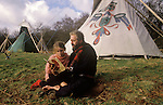 TeePee Valley near LLandeilo Wales UK. Hippy alternative Life style father and daughter, Ged Edwards and Seren Edwards.
