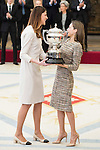 Ruth Beitia and Queen Letizia attends to the National Sports Awards 2015 at El Pardo Palace in Madrid, Spain. January 23, 2017. (ALTERPHOTOS/BorjaB.Hojas)