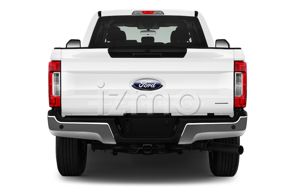 Straight rear view of 2017 Ford F-250 XLT-SuperCab 4 Door Pickup Rear View  stock images