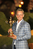 Luke Donald with the Ryder Cup at the end of Sunday's singles matches at the Ryder Cup 2012, Medinah Country Club,Medinah, Illinois,USA 30/09/2012.Picture: Fran Caffrey/www.golffile.ie.