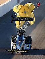 Feb 26, 2016; Chandler, AZ, USA; NHRA top fuel driver Tony Schumacher during qualifying for the Carquest Nationals at Wild Horse Pass Motorsports Park. Mandatory Credit: Mark J. Rebilas-