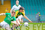 Alan Fitzgerald wins the ball against Limerick's Mike Fitzgerald in the Munster Junior Championship Semi final held in the Gaelic Grounds last Saturday.