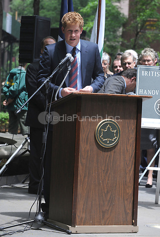 Prince Harry Participates In The Official Naming Of The British Garden at Hanover Square in New York City, during his 36 hour official trip to New York City. May 29, 2009. Credit: Dennis Van Tine/MediaPunch