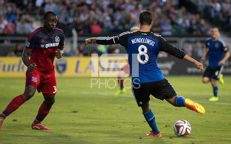 Santa Clara, California - July 11, 2014: San Jose Earthquakes face off against the Chicago Fire at Buck Shaw Stadium on Wednesday.