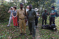 20080201_Periyar, India_ Tourists and trackers alike are engaged with a group of wild elephants, who foraging in the woods of the Periyar Wildlife Sancuary in the Southern Indian state of Kerala.  Photographer: Daniel J. Groshong/Tayo Photo Group