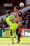 Tom Lawrence of Derby County clashes with Jack O'Connell of Sheffield Utd during the Championship match at Bramall Lane, Sheffield. Picture date 26th August 2017. Picture credit should read: Simon Bellis/Sportimage