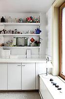 modern bathroom with artworks