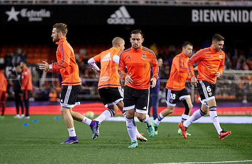 06.03.2016. Mestalla Stadium, Valencia, Spain. La Liga match between Valencia versus Atletico Madrid. Valencia players warm up prior to the game