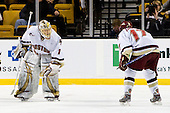 John Muse (BC - 1), Brian Gibbons (BC - 17) - The Boston College Eagles defeated the Harvard University Crimson 6-0 on Monday, February 1, 2010, in the first round of the 2010 Beanpot at the TD Garden in Boston, Massachusetts.