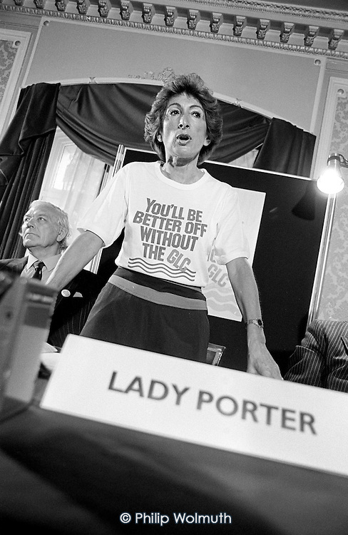 Shirley Porter, Leader of Westminster City Council, launches 'Efficiency in Local Government' at the Waldorf Hotel, 25/6/1984.
