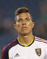 Real Salt Lake defender Carlos Salcedo (16). In a Major League Soccer (MLS) match, Real Salt Lake (white)defeated the New England Revolution (blue), 2-1, at Gillette Stadium on May 8, 2013.