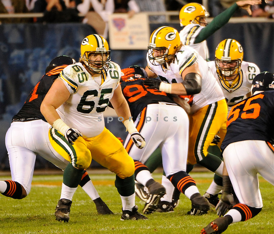 MARK TAUSCHER, of the Green Bay Packers in action during the Packers  game against the Chicago Bears on September 28, 2010 at Soldier Field in Chicago, Illinois...The Bears beat the Packers 20-17