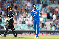 Jasprit Bumrah (India) celebrtes the wicket of Colin Munro (New Zealand) during India vs New Zealand, ICC World Cup Warm-Up Match Cricket at the Kia Oval on 25th May 2019