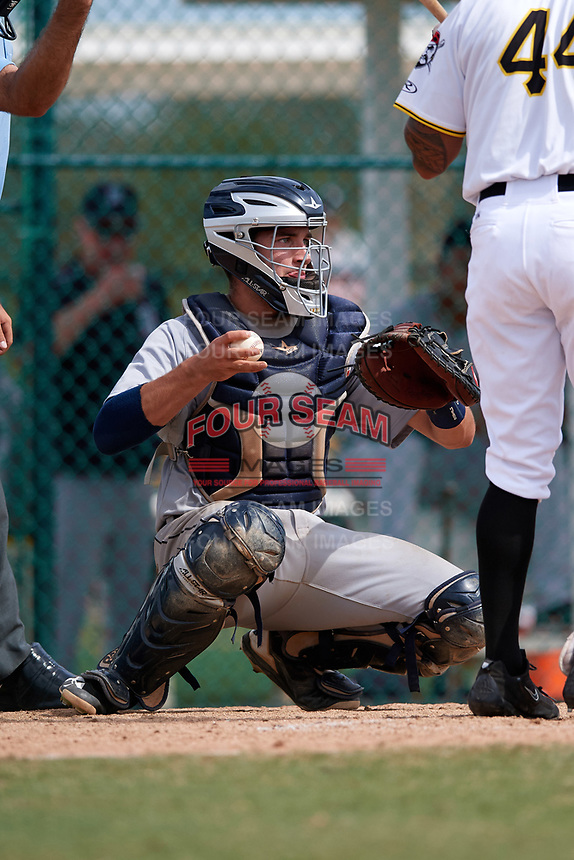 Detroit Tigers catcher Joey Morgan (33) during an Instructional League game against the Pittsburgh Pirates on October 6, 2017 at Pirate City in Bradenton, Florida.  (Mike Janes/Four Seam Images)