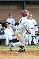 Catcher Babe Thomas (8) of the Winthrop University Eagles bats in a game against the University of South Carolina Upstate Spartans on Wednesday, March 4, 2015, at Cleveland S. Harley Park in Spartanburg, South Carolina. Upstate won, 12-3. (Tom Priddy/Four Seam Images)