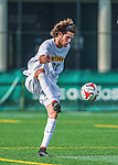 5 September 2014: La Salle University Explorers Midfielder/Forward Nick Becker, a Redshirt Senior from Newtown, PA, in action against the University of Vermont Catamounts at Virtue Field in Burlington, Vermont. The Catamounts, playing a man down for 66 minutes, defeated the visiting Explorers 2-1 on the first day of the Morgan Stanley Windjammer Classic Men's Soccer Tournament. Mandatory Credit: Ed Wolfstein Photo *** RAW (NEF) Image File Available ***