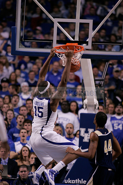 UK freshman forward DeMarcus Cousins makes a dunk during the second half of the men's basketball game against Clarion at Rupp Arena on Friday, Nov. 6, 2009. The Wildcats won 117-52 over the Golden Eagles. Photo by Adam Wolffbrandt | Staff