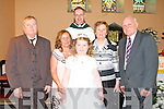 COMMUNION: Sophie Foran of Flemby NS with her grandparents at her First Holy Communion at the Church of the Immaculate Conception, Ballymacelligott on Saturday l-r:Joe and Carmel Foran, Fr Pat Crean-Lynch, Sophie Foran and Mena and Thomas O'Driscoll.