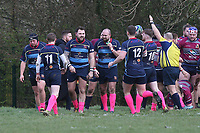 Coopers score their first try during Old Cooperians RFC vs Barking RFC, London 3 Essex Division Rugby Union at the Coopers Company and Coborn School on 14th March 2020