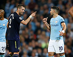 Morgan Schneiderlin of Everton  points an accusing finger at Sergio Aguero of Manchester City during the Premier League match at the Eithad Stadium, Manchester. Picture date 21st August 2017. Picture credit should read: Simon Bellis/Sportimage