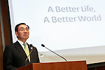 Panasonic president Kazuhiro Tsuga speaks during a news conference at the company's headquarters on March 31, 2016, in Tokyo, Japan. Panasonic announced that it expects sales of 8.8 trillion yen ($78.28 billion) for the 2018 fiscal year, 12 percent less that its previous forecast target of 10 trillion yen because of an uncertain global economy. (Photo by Rodrigo Reyes Marin/AFLO)