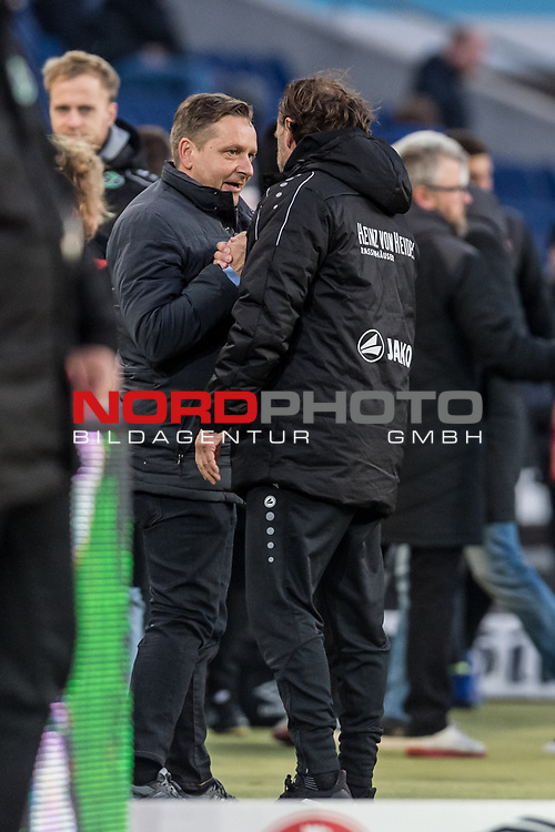 09.02.2019, HDI Arena, Hannover, GER, 1.FBL, Hannover 96 vs 1. FC Nuernberg<br /> <br /> DFL REGULATIONS PROHIBIT ANY USE OF PHOTOGRAPHS AS IMAGE SEQUENCES AND/OR QUASI-VIDEO.<br /> <br /> im Bild / picture shows<br /> Jubel, Thomas Doll (Trainer Hannover 96) im Moment des Schlusspfiffs, Doll bejubelt 2:0 Heimsieg mit Horst Heldt (Sportdirektor / Manager Sport Hannover 96), <br /> <br /> Foto &copy; nordphoto / Ewert