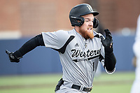 Western Michigan Broncos outfielder Blake Dunn (1) runs to first base against the Michigan Wolverines on March 18, 2019 in the NCAA baseball game at Ray Fisher Stadium in Ann Arbor, Michigan. Michigan defeated Western Michigan 12-5. (Andrew Woolley/Four Seam Images)