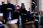 Former US President George W Bush looks on as a joint service members of a military casket team carry the casket of former President George H. W. Bush into the US Capitol, where he will lie in state until Wednesday morning in Washington, DC, USA, 03 December 2018. Bush will lie in state in the Capitol Rotunda before his state funeral at the Washington National Cathedral 05 December. George H.W. Bush, the 41st President of the United States (1989-1993), died at the age of 94 on 30 November 2018 at his home in Texas.