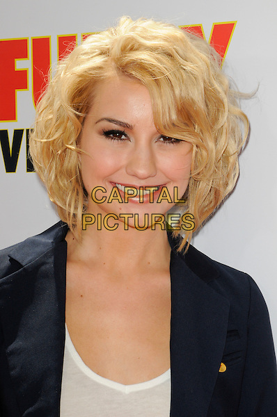 """CHELSEA STAUB.The Los Angeles premiere of """"Furry Vengeance"""" at Mann Bruin Theatre in Westwood, California, USA..April 18th, 2010 .headshot portrait white blue navy .CAP/ROT.©Lee Roth/Capital Pictures"""