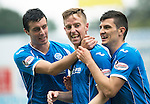 St Johnstone v Hamilton Accies...12.09.15  SPFL McDiarmid Park, Perth<br /> Steven MacLean celebrates his hat trick with Joe Shaughnessy and Graham Cummins<br /> Picture by Graeme Hart.<br /> Copyright Perthshire Picture Agency<br /> Tel: 01738 623350  Mobile: 07990 594431