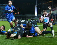 28th February 2020; RDS Arena, Dublin, Leinster, Ireland; Guinness Pro 14 Rugby, Leinster versus Glasgow; Scott Fardy (Captain Leinster) drives over from close range to score a try