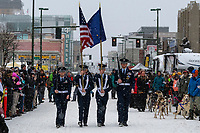 Pre Race Color Guard at 4th Avenue and D street in downtown Anchorage, Alaska on Saturday March 7th during the 2020 Iditarod race. Photo copyright by Cathy Hart Photography.com