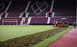 09.05.2018 Hearts v Hibs: Hearts begin to rip up their pitch after the match