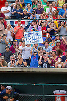 A young fan holds up a sign for Alex Rodriguez (not pictured) as he made a rehab start for the Charleston RiverDogs, the South Atlantic League affiliate of the New York Yankees, in a game against the Rome Braves at Joseph P. Riley Park on July 2, 2013 in Charleston, South Carolina.  The RiverDogs defeated the Braves 4-2.   (Brian Westerholt/Four Seam Images)