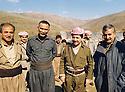 Iran 1990 <br />  In Kasmarach, from left to right, Jabar Fermand, Nou Shirwan, Masoud Barzani and Mullazem Omar Abdallah  <br /> Iran 1990 <br /> A Kasmarach, de gauche a droite, Jabar Fermand, Nou Shirwan, Masoud Barzani et Mullazem Omar Abdallah